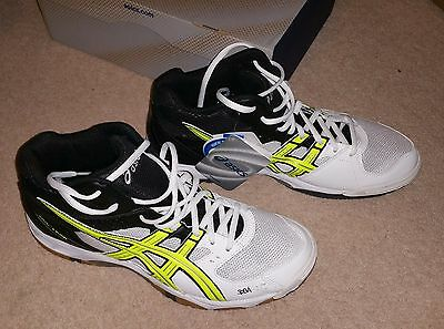 Asics Gel Task MT White Yellow Mid Court Squash Tennis Volleyball Badminton 9