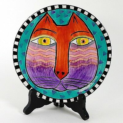 "Laurel Burch 8"" Cat Plate Turquoise Background 1998"