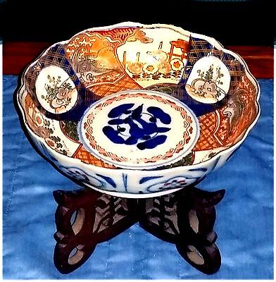 Vintage Chinese Colorful Porcelain Rice Noodle Soup Bowl w/ Wood Stand