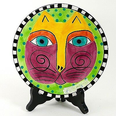 "Laurel Burch 8"" Cat Plate Green Background 1998 #2"