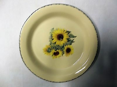 """Home & Garden Party Sunflower 10"""" Stoneware Dinner Plate Made In Usa"""