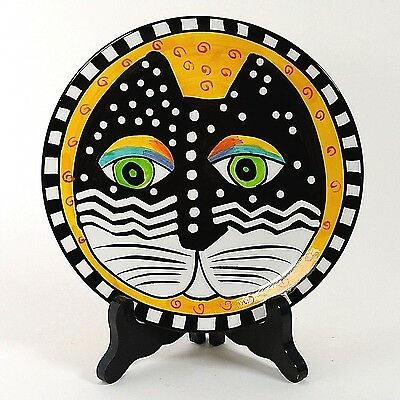"Laurel Burch 8"" Cat Plate Yellow Background 1998 #2"