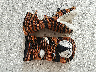 Woolen Tiger mittens suitable for boy or girl aged probably 7 to 12
