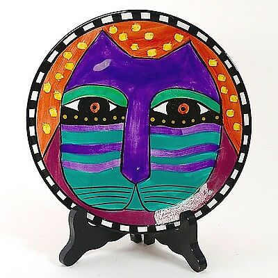 "Laurel Burch 8"" Cat Plate Red Background 1998 #2"