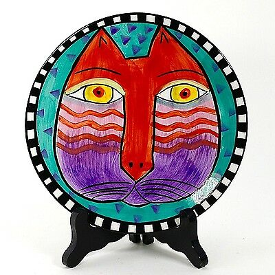 "Laurel Burch 8"" Cat Plate Turquoise Background 1998 #2"