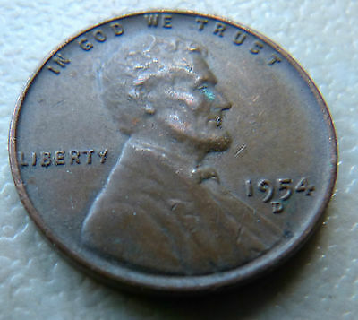 1954D - U.s.a. One Cent Coin - Lincoln Wheat Penny
