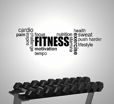 Fitness Gym Exercise Word Cloud Modern Wall Sticker Vinyl Art Motivation