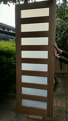 Entrance door BRAND NEW Maple raw timber with (8) translucent glass