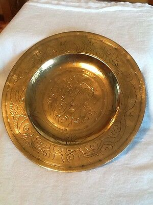 Brass Hand Engraved Plate, Chinese Themed With Dragon