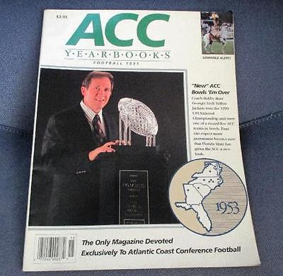 ACC YEARBOOKS Football 1991 Magazine Bobby Ross on Cover