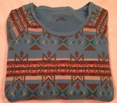 Womens VTG Contrasting Retro Tribal Print Twill Cotton Cerulean Blue Sweatshirt