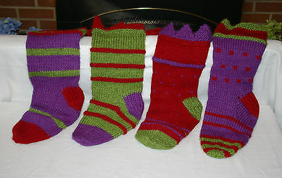 4 Purple Green Red Hand Knit Christmas Stockings Priceless