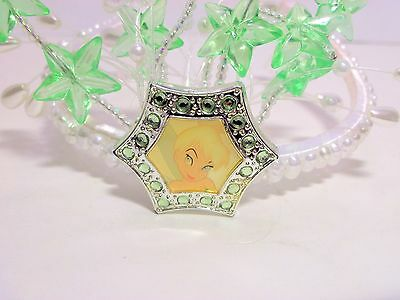 Disney Tinker Bell Tiara Fairy Crown Headband With Pearls And Plastic Green Star