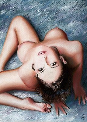 Original Pastel Drawing - 7 x 5 inches - Female nude