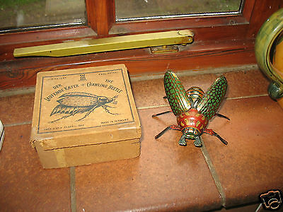 LOVELY COLOURS RARE 1890's first LEHMANN BEETLE & BOX clockwork tin toy Germany