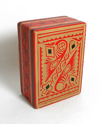 VINTAGE ART DECO WOOD PLAYING CARD BOX hideaway opening holder folk art red