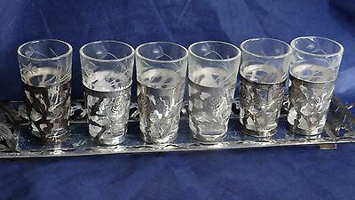 Beautiful Mexico Sterling Silver Crystal Tray With 6 Silver Overlay Shot Glasses