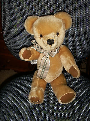 """Merrythought 15 """" JOINTED Teddy Bear with yellow label vgc"""