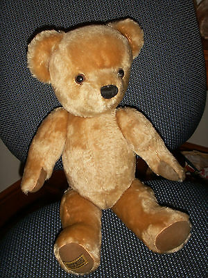 """Merrythought 18"""" JOINTED Teddy Bear with yellow label vgc"""