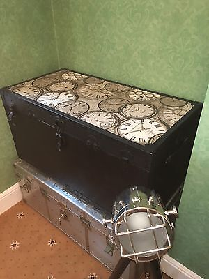 Large Steamer Trunk Black With Steam Punk Clock Top