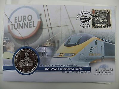 The Millennium Railway Innovations Isle Of Man 1 Crown Coin Cover With Fdc Stamp