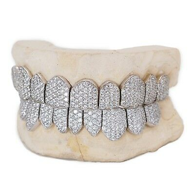 Custom 10k 14k Gold Grillz Plated Silver Handset CZ Sauce Iced Out Grill