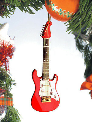 """Fender Electric Guitar Red 5"""" Musical Instrument Christmas Ornament Gift Boxed"""