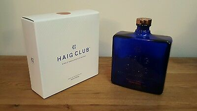 Haig Club 70cl blue whiskey square glass bottle & box David Beckham collectable