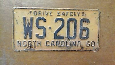 Vintage License Plate North Carolina NC 1960 WS 206 Drive Safely Rustic