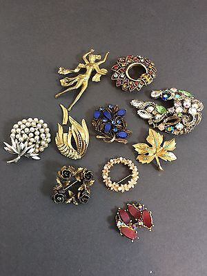 Costume Jewellery Brooches Vintage Mixed Lot Spares Repairs
