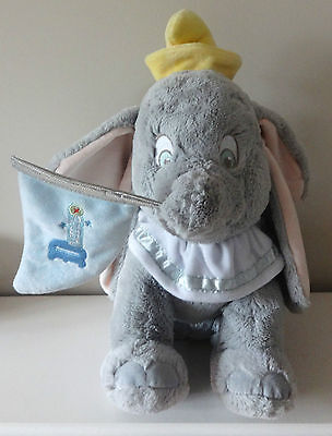 The Disney Store Dumbo Elephant Soft Toy With Flag Authentic