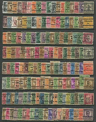 """UNITED STATES -  625  """"  PRE - CANCEL  """" stamps ( with some duplication ) ."""