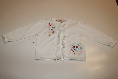 Little Rocha Debenhams White Soft Floral Cotton Knitted Cardigan Baby Girl 6-9 M