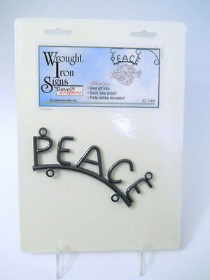New Metal Peace Black Wrought Iron Hanging Sign Craft Glass Pottery Wood Garden