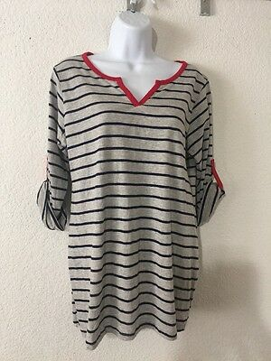 Planet Motherhood Women's Stripe long Sleeve Shirt  Size L