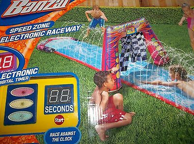 Banzai Speed Zone Electronic Raceway Water Slide with Digital Timer Slip N NEW!
