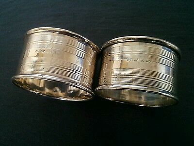 Antique Pair 2 Two Solid Silver Napkin Serviette Rings with Striped Pattern