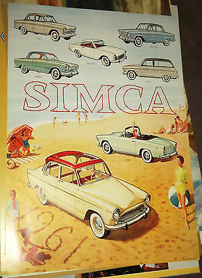 Stunning 'Simca' Cars, Advertising Poster. 1961.  840mm x 595mm.
