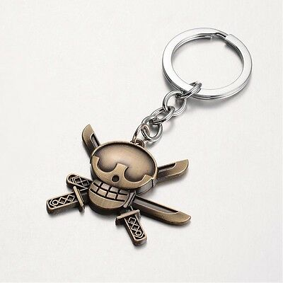 1 x Skull & Cross Swords Keyring Antique Bronze 86mm Alloy Keychain Collectable