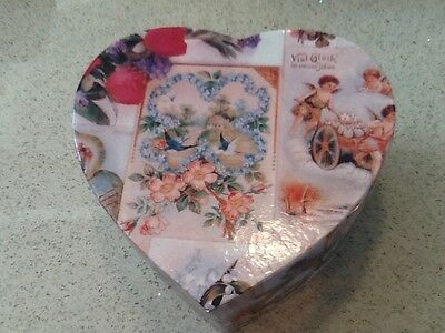 Vintage Valentines Day Heart Shaped Cardboard Decoupage Box For Decor-Storage