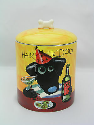"""Naylor Design """"hair Of The Dog"""" Ceramic Dog Treat Canister - Hand Painted - Mint"""