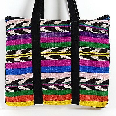 Gorgeous & Useful!! Vintage Hand-Loomed Fabric Guatemala Tote Bag