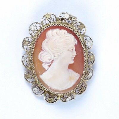 Vtg shell cameo 800 silver filigree gold vermeil carved Victorian style lady