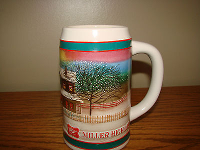 Vintage MILLER High Life BEER MUG Stein Holiday Traditions Edition Winter Scene
