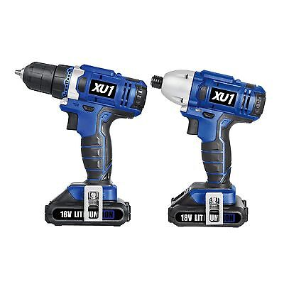 18V Cordless Drill Kit with Drill driver and impact drill + 2 x 1.5Ah Batteries