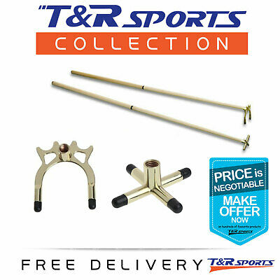 2x 2-Piece Cues with Brass Cross Spider Rest Head for Pool Snooker Free Postage