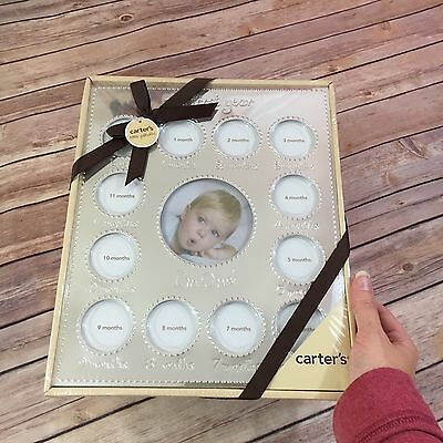 "NEW Carter's Smileyhappy Baby Picture Frame ""My First Year"" Silver Silvertone"