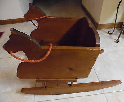Toddler's Vintage Hand Made Rocking Chair With Horse Head On Ea. Side W/Reins