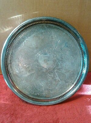 Ornate Round Brass Silver Plated  Serving Tray marked 1973 Seigniory Club 15""