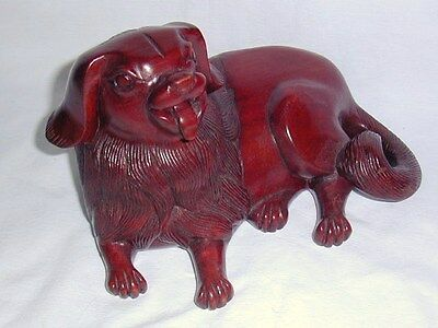 "Pekingese Dog Sculpture Hardwood Figurine, 7"" Long, EXC."
